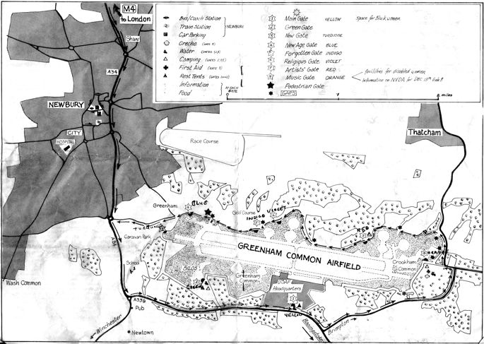 Greenham Common Peace Camp Map, 1982